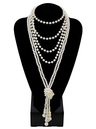Zivyes Fashion Faux Pearls 1920s Pearls Necklace Gatsby Accessories 59 and 45 Knot Long Necklace for Women