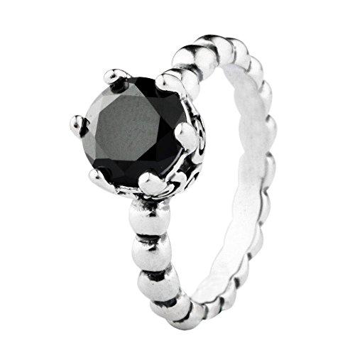 TAOTAOHAS Antique Solid Sterling 925 Silver Ring [Secret Winds, Jet Black] Best Sellers w Crystal