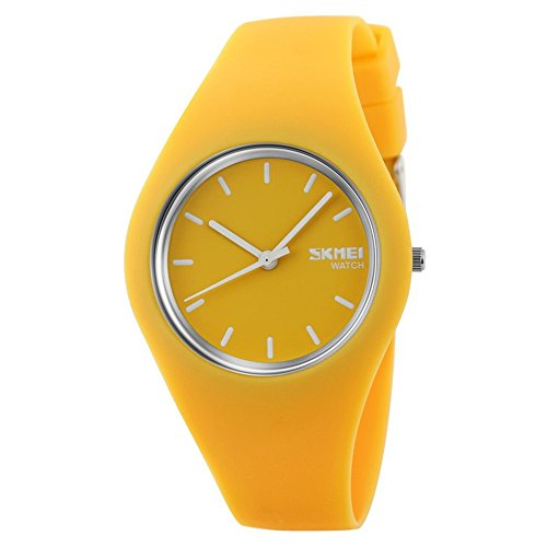 Cheap Skmei fashion Trends Korean version of the silica gel quartz ultra-thin fine gift watches(12 styles) (yellow)