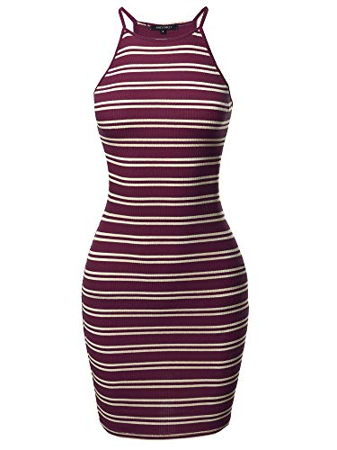 - Awesome21 Stripe Print High Neck Ribbed Body-Con Mini Dress Burgundy White L
