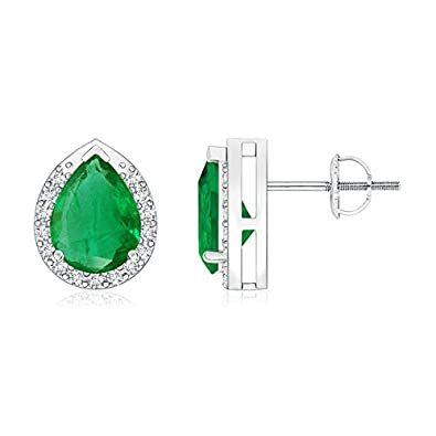 Angara Pear Natural Emerald and Diamond Halo Stud Earrings t8hjt
