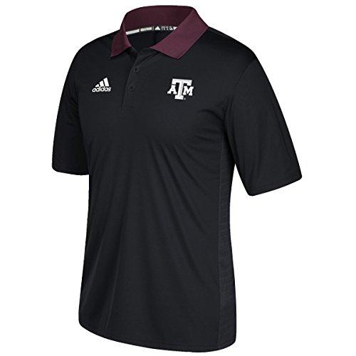 Texas A&M Aggies Adidas NCAA 2017 Sideline Coaches Polo Shirt - Black (Adidas Polo Sideline Shirt)