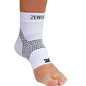 Zensah PF Compression Sleeve (single) - Plantar Fasciitis Sleeve, Relieve Heel Pain, Arch Support, Reduce Swelling - Foot Sleeve, Plantar Fasciitis Sock,L,White