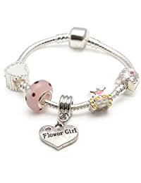 Liberty Charms Children's Kids 'Little Princess' Flower Girl Silver Plated Charm Bead Bracelet. With Gift Box & Velvet Pouch (Other sizes available) (16.00)