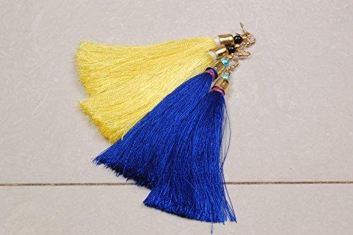 Krishna Handmade INDIAN Vintage Silk Thread TASSEL EARRING - 2 Pairs/Women Thread Earrings for Parties/Bohemian Earrings/Colour : ROYAL BLUE & CREAM/[Krish-Tassel-004]