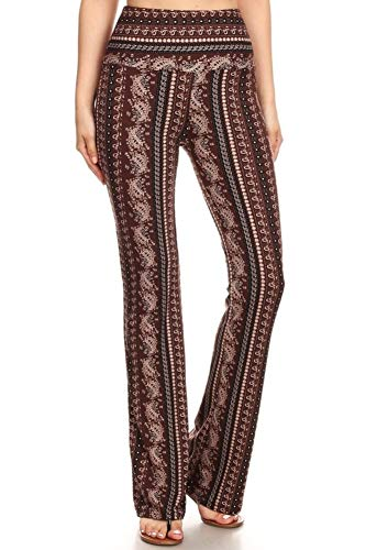 (ShoSho Womens Flare Pants Palazzo Wide Leg High Waisted Bell Bottoms Paisley Print Brown/Tan Medium)