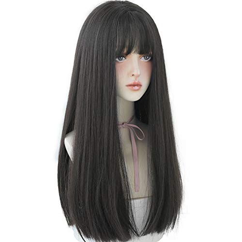 URCGTSA 23 Inches long Hair Wig for Women Black Synthetic Hair Natural Long Straight Wig With Bangs Party Cosplay Wig for Girl(Black brown)