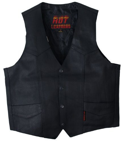 Hot Leathers Heavy Weight Cowhide Motorcycle Leather Vest (Black, XXXX-Large)