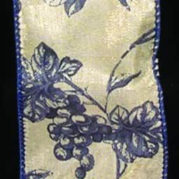 Amazon Com Ivory And Navy Blue Floral Print Wired Toile Craft Ribbon 2 X 40 Yards