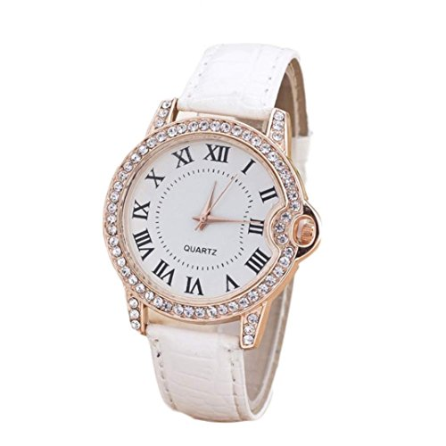 IEason,Womens Leisure Time Faux Leather Analog Diamond Simple Clock Dial Wrist Watch (White) (White Leather Diamond Watch)