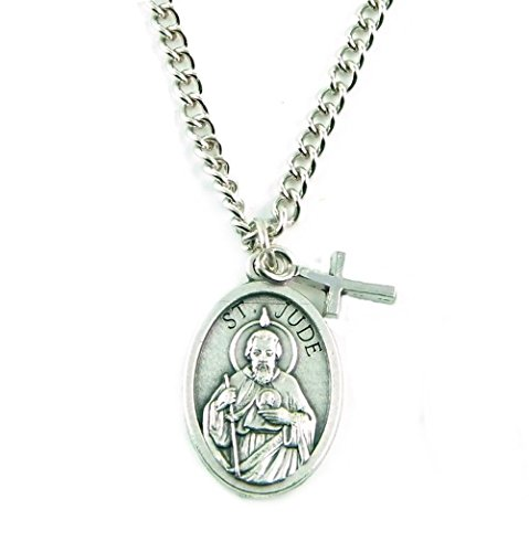 PlanetZia St. Jude Patron Saint of Hope and Impossible Causes Necklace w/Cross and Rose Back TVT-EJR-1