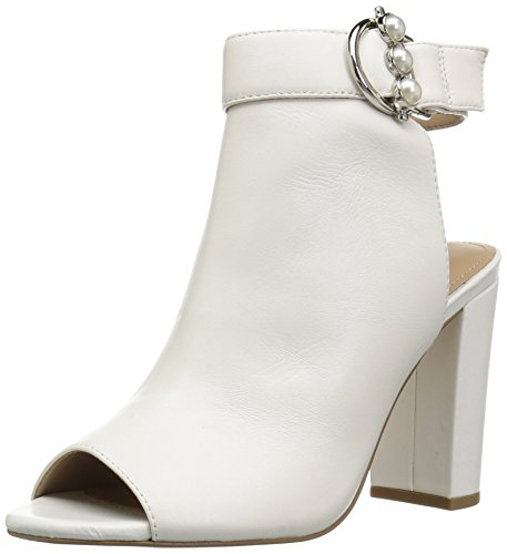 The Fix Women's Giana Open Toe Bootie with Pearl Buckle, Bright White Leather 7.5 B US