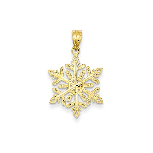 FB Jewels Solid 14K Yellow Gold Diamond -Cut Snowflake Pendant ()