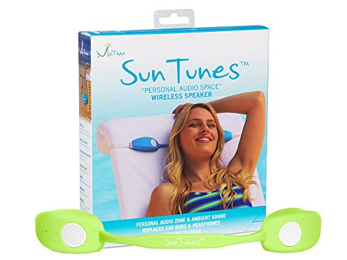 MeTime Audio SunTunes Near-Ear True Stereo Personal Wireless Portable Speaker, Water Resistant, Beach Travel Office, Earbuds, Headphones, Magnetic Connect, Hearing Protection, Green by Suntunes