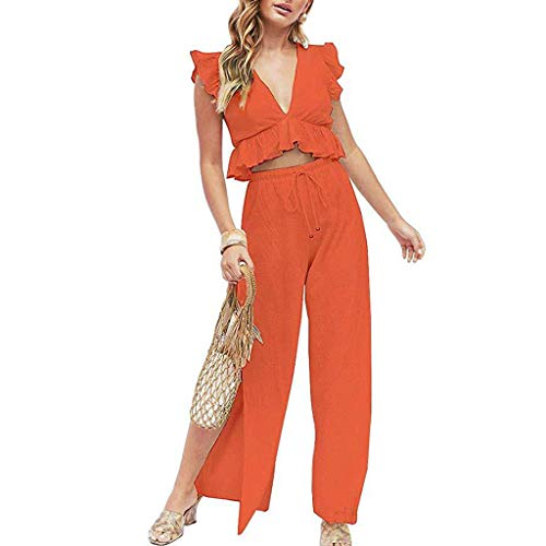 Londony ◈ Womens Two Pieces Set Outfits Deep V Neck Crop Top Side Slit Drawstring Wide Leg Pants Set Jumpsuits Orange
