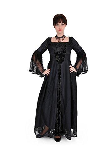 Mittelalter lang Kleid Schwarz Gothic Chiffon Gewand schwarz raPrUx1