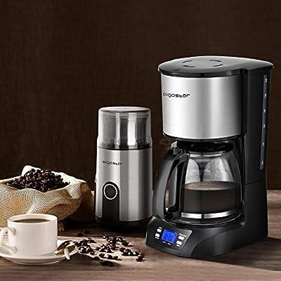 Aigostar pack Café - Aigostar Benno Cafetera de goteo, 800W, pantalla LCD y programador 24h + Aigostar Otto Molinillo compacto de café, especias, semillas o granos, 200W, 75gr capacidad. Libres BPA: Amazon.es: