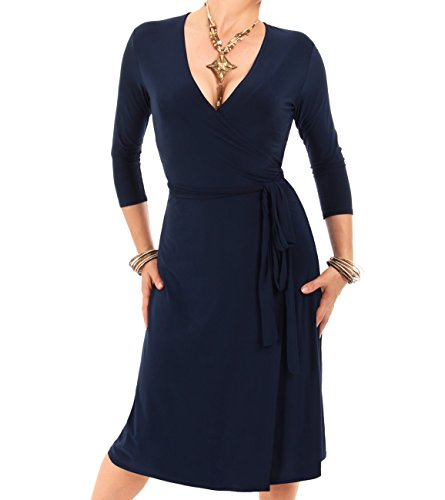 Blue Banana - Navy Blue Elegant Slinky Wrap Dress US Size 12