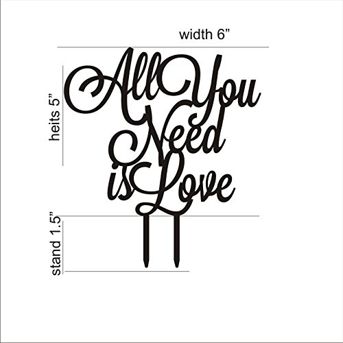 Wedding Cake Topper All you need is love Cake topper for wedding decorations HappyPlywood (white) by HappyPlywood (Image #2)
