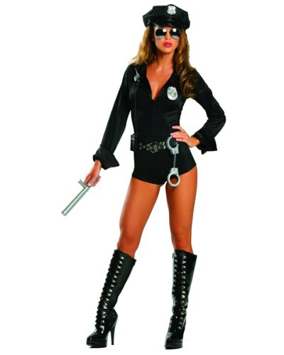 Police Woman Costume Cheap (7-PC Lady Cop Adult Small Medium Police Officer Sexy Outfit Costume)