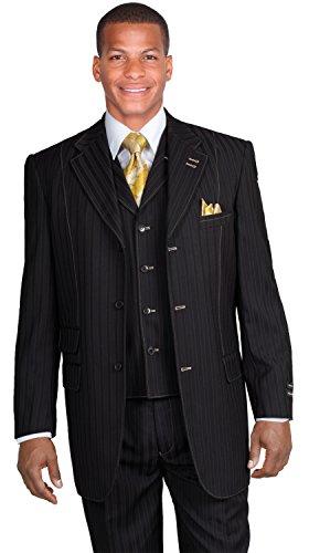 New Men's 3 Piece Milano Moda Elegant and Classic Stripes Suit Silver 5267 (44L, (New Mens Black Stripe Suit)