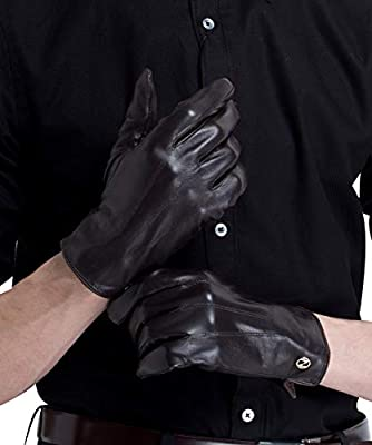 Men/'s Texting Touchscreen Winter Sheepskin Leather Daily Dress Driving Gloves