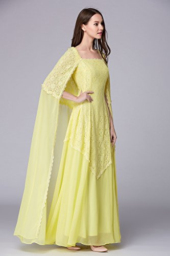 Emily Arm Gelb Kragen Abendkleid Quadrat Mantel Spitze Ohne A Beauty Linie Rand HwRBB