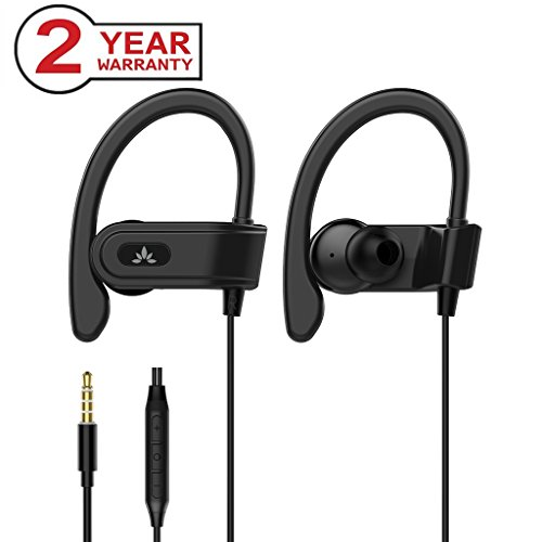 Avantree Sports Headphones Wired with Microphone, Over Ear Earbuds with Ear Hook, in Ear Running Earphones for Workout Gym Compatible with iPhone, Samsung