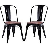 Costway Tolix Style Dining Chairs Industrial Metal Stackable Cafe Side Chair w/ Wood Seat Set of 2 (Black)