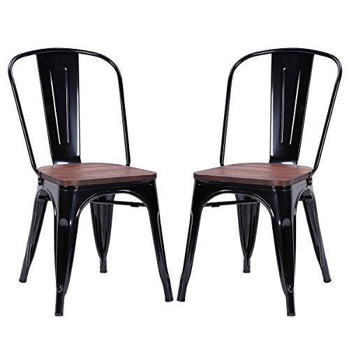 2 Side Metal (Costway Tolix Style Dining Chairs Industrial Metal Stackable Cafe Side Chair w/ Wood Seat Set of 2 (Black))
