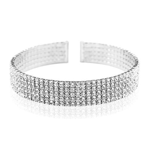 - Sparkly Rhinestone Bridal Wedding Statement Bracelet - Cubic Zirconia Crystal Stretch Memory Wire/Adjustable Wrist Band Cuff/Hinge Bangle/Delicate Star Heart Flower (Band -5 Row - Silver)