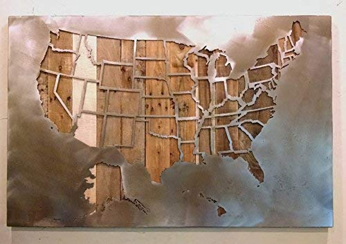 Large United States Map with State Borders - All 50 States - 29''x45'' - Metal Art - Reclaimed Wood and Aged Steel - by Legendary Fine Art