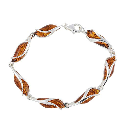 HolidayGiftShops Sterling Silver Honey Baltic Amber Bracelet - Silver Bracelet Sterling Amber Honey