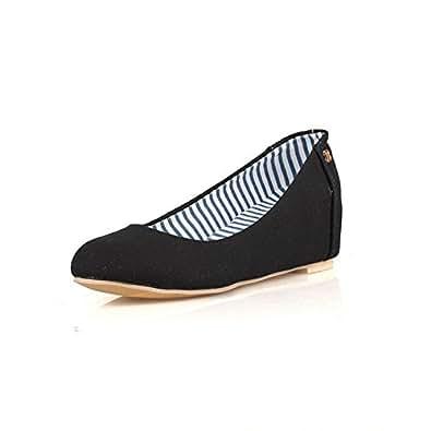 BalaMasa Womens Solid Comfort Backpacking Hiking Black Urethane Pumps Shoes APL10394-4.5 B(M) US