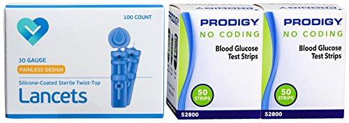 Prodigy Diabetes Testing Refill Kit - 100 Test Strips, 100 Lancets Needle Refill Single