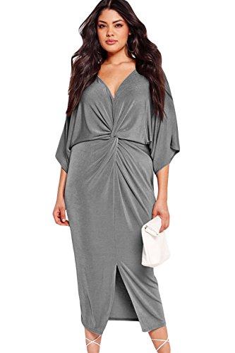 NEW Femme de taille plus robe Midi Casual Soirée porter avant noué en velours gris taille XL UK 14EU 40
