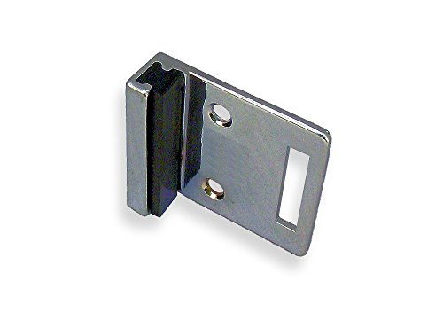 Chrome Plated Zamac Flat Strike & Keeper For Slide Latch for Restroom Partition Door - For Inswing - 1-19/32'' Between Mounting Hole Centers by Young's Catalog
