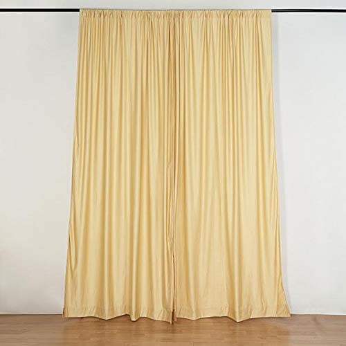 Efavormart 10FT Champagne Polyester Curtain Backdrop Drape Panel
