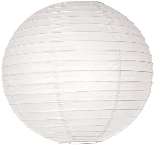 (Luna Bazaar Paper Lantern (14-Inch, Parallel Style Ribbed, White) - Rice Paper Chinese/Japanese Hanging Decoration - for Home Decor, Parties, and Weddings)