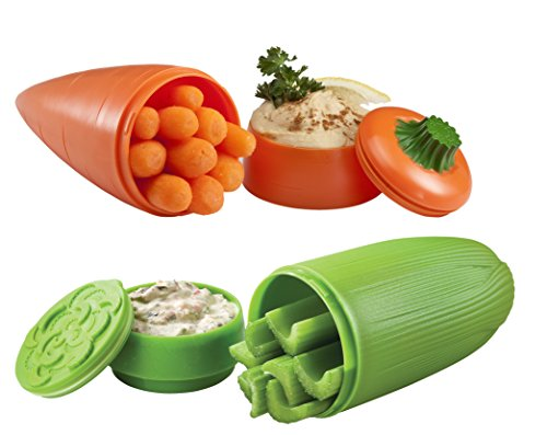 Hutzler 12-91/12-92 Carrot and Celery Dip To-Go Snack Containers, 2.6