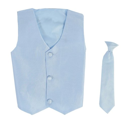 Vest and Clip On Baby Boy Necktie set - LIGHT BLUE - L/XL (12-24 Months)