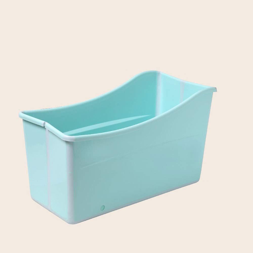 bluee ZR Multifunctional portable collapsible bathtub home one adult bath barrel, bathtub high-grade PP material non-toxic bathtub thickening bath barrel (green, pink) (color   bluee)