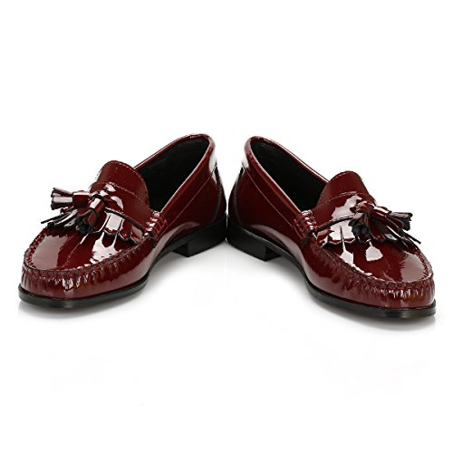 Bordeaux Patent Tassel Tower Cuir Loafers Femmes q6HnUS