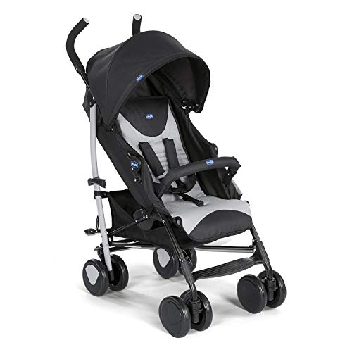 Chicco Echo Stroller with Bumper Bar, Stroller for newborn babies and toddlers, 0m+, Pram for boys and girls (Black, Stone)