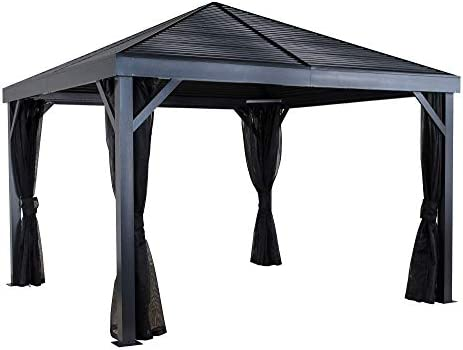 Sojag 12 x 12 South Beach Hardtop Gazebo Outdoor Sun Shelter with Mosquito Netting, Light Grey