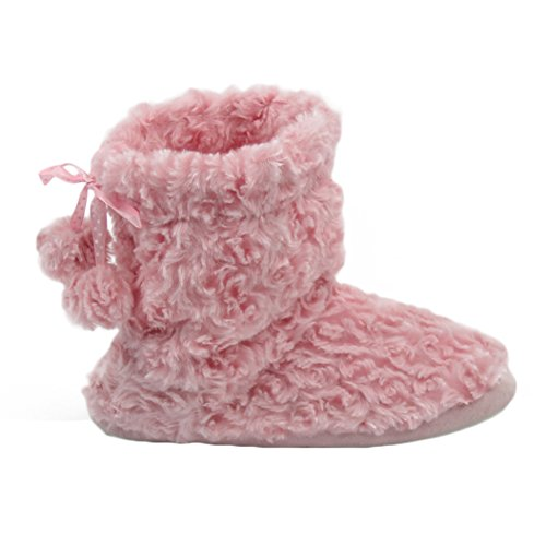 Shoes House Women's Slipper Boots Indoor Soft Plush pom Warm Slipper Pink Poms Home wgznOqHO