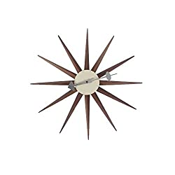 Emorden Furniture George Nelson Sunburst Clock in Walnut, Classic Wooden Mid Century Handmade Antique Retro Wall Clock, Fit for Living Room, Hall, Office, Bedroom etc. (Full Range Available)