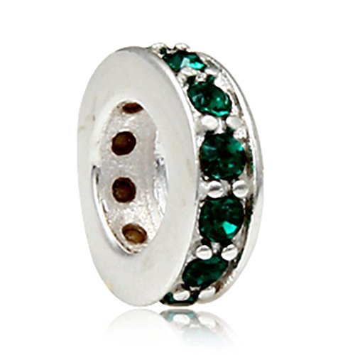 Blue Green Charm - Shining Spacer Charm 925 Sterling Silver Gift Beads Charm fit for Pandora Charms Bracelets (Green)