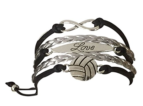 Volleyball Charm Bracelet - Infinity Love Adjustable Charm Bracelet with Volleyball Charm for Volleyball Players]()