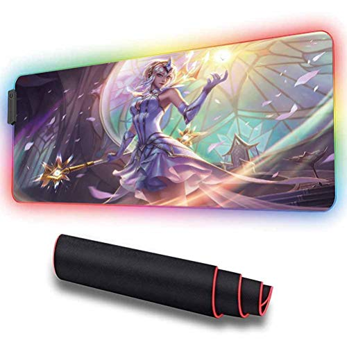 RGB Mouse Pad for Lux, Anti Slip Rubber Base,Waterproof,Smooth Gaming Surface,10 Lighting Modes,LED Soft Extended Mouse Mat,Desk pad,for Computer 11.8x31.5 inch